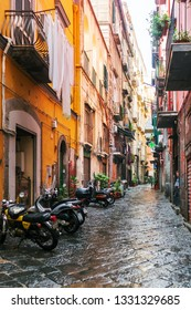 NAPLES, ITALY - January 15, 2018 : Street view of old town in Naples city, Italy