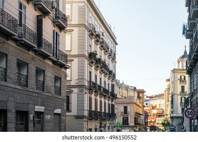 NAPLES, ITALY - January 16, 2016 : Street view of old town in Naples city. January 16, 2016, Naples, Italy