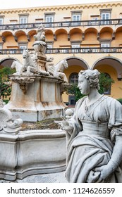 NAPLES , ITALY - JANUARY 26: The artistic fountain inside the cloister of San Gregorio Armeno,on January 26, 2014 in Naples