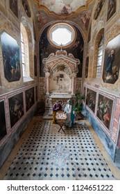 NAPLES , ITALY - JANUARY 26: inside the cloister of San Gregorio Armeno,on January 26, 2014 in Naples