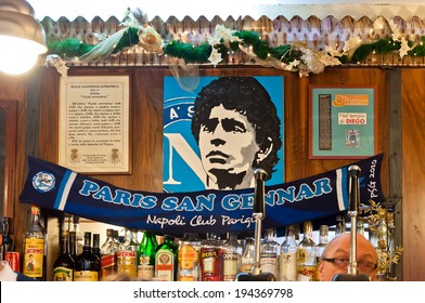 NAPLES, ITALY - JANUARY 3, 2014: tribute to Maradona in typical bar in Naples, Italy. Maradona has played in Napoli football team for 8 years and is considered the best football player of all time