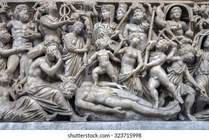 NAPLES, ITALY - JULY 22 2015: 4th century AD Roman sarcophagus depicting the legend of Prometheus creating the first man on display in the Naples National Archaeological Museum.