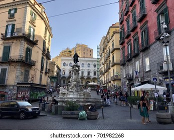 NAPLES, ITALY - July 22, 2017: Old buildings in Naples streets.