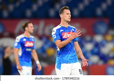 Naples Italy, July 25h, 2020: football Serie A match between Napoli vs Sassuolo at San Paolo Stadium.In the pic: Arkadiusz Milik of NAPOLI