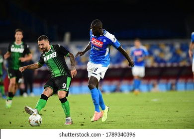 Naples Italy, July 25h, 2020: football Serie A match between Napoli vs Sassuolo at San Paolo Stadium.In the pic: Kalidou Koulibaly of NAPOLI and Filip Duricic of SASSUOLO