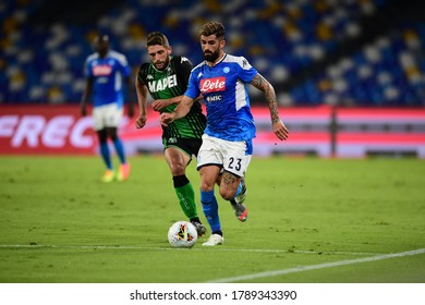 Naples Italy, July 25h, 2020: football Serie A match between Napoli vs Sassuolo at San Paolo Stadium.In the pic: Elseid Hysaj of NAPOLI