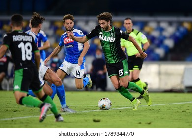 Naples Italy, July 25h, 2020: football Serie A match between Napoli vs Sassuolo at San Paolo Stadium.In the pic: Manuel Locatelli of SASSUOLO