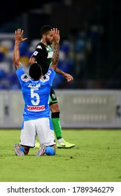 Naples Italy, July 25h, 2020: football Serie A match between Napoli vs Sassuolo at San Paolo Stadium.In the pic: Allan of NAPOLI celebrates 2-0
