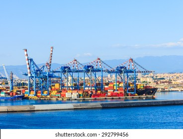 NAPLES, ITALY- JUNE 18: The seaport of Naples, Italy on June 18. 2015. The port is one of the largest seaports in the Mediterranean Sea.