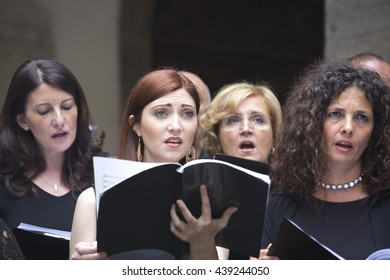Naples, Italy. June 19, 2016: Members of the Choir Pieta dei Turchini singing Haendel Halleluja in the  St. Martin Charter house,  a former monastery complex, now a museum, in Naples, southern Italy