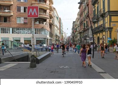 Naples, Italy - June 25, 2014: Via Toledo Shopping Street Near Subway Station at Historic Centre in Napoli, Italy.