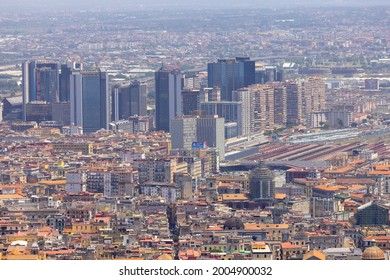 Naples, Italy - June 27, 2021: Aerial view of the city with Centro direzionale di Napoli.The Centro direzionale is a business district in Naples, close to the station of Napoli Centrale
