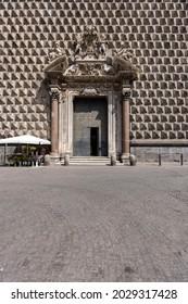 Naples, Italy - June 27, 2021: Facade of baroque Gesu Nuovo church, decorative portal