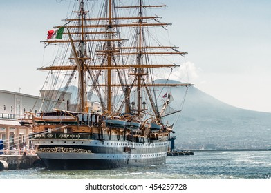 NAPLES, ITALY - JUNE 30: The tall ship the Amerigo Vespucci docked in Naples: June 30, 2016 in Naples Italy