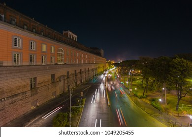 Naples (Italy) - Landscape of via Acton, in the centre of the city. On the left side the Royal Palace.