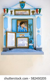 Naples, Italy - March 14, 2008:  Old town, a tabernacle dedicated to a champion of the local football team