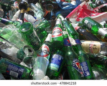 Naples, Italy - May 10, 2011: chaotic heap of empty bottles near the University. Many kinds of drinks, no more visible brands