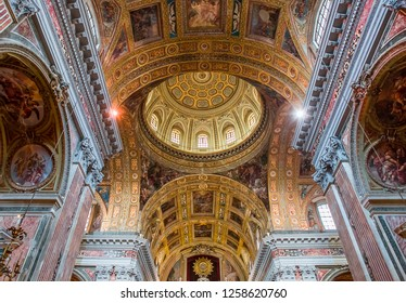 NAPLES, ITALY – MAY 15, 2014: Interiors and details of barroco church of the Gesu Nuovo, built year 1601, May 15, 2014,  in  Naples, Italy.