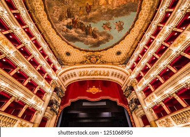NAPLES, ITALY , MAY 16, 2014, Teatro di San Carlo, Naples opera house, May 16, 2014,  in  Naples, Italy.