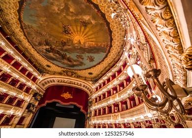 NAPLES, ITALY , MAY 16, 2014, Teatro di San Carlo, Naples opera house, May 16, 2014,  in  Naples, Italy.