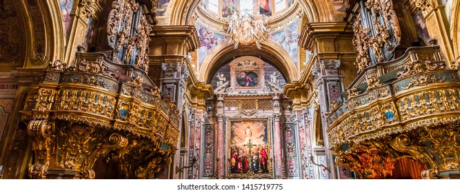 NAPLES, ITALY – MAY 16, 2014 : Interiors and details of San Gregorio Armeno church, May 16, 2014,  in  Naples, Italy