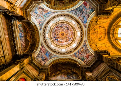NAPLES, ITALY, MAY 16, 2014 : Interiors and details of the Duomo, cathedral of Naples, built 14th century for saint Januarius, camapnia, Italy, May 16, 2014,  in Naples, Italy.