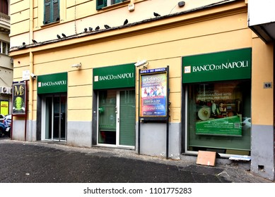 Naples, Italy - May 8, 2018:  Banco di Napoli (Bank of Naples) is one of the most important and oldest Italian banks, being founded in 1539.  It has over 670 branches.