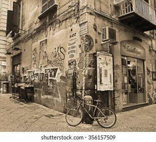 NAPLES, ITALY - NOVEMBER 13, 2015. Street view in the historical center of Naples, Italy. Retro style.