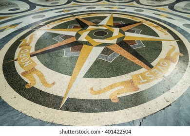 NAPLES, ITALY - NOVEMBER 16, 2015: Old mosaic pattern on the floor of  Galleria Umberto I in Naples, Italy.