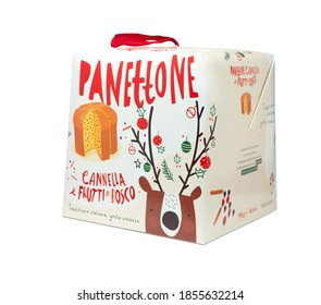 Naples, Italy - November 2020: IKEA Christmas cake panettone with cinnamon and berries isolated