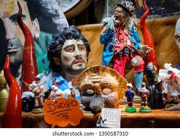Naples, Italy - November 22, 2018: Diego Maradona football player statue in Naples Italy