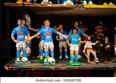 Naples, Italy - November 22, 2018: Marek Hamsik and Maradona football player statue in Naples Italy