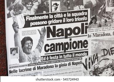 Naples, Italy - October 10, 2013: The cover of the newspaper La Gazzetta Dello Sport on 10 May 1987. The team of Napoli wins the Italian Cup with Diego Armando Maradona.