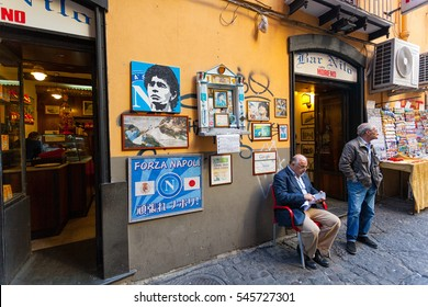 Naples, Italy - October 10, 2013: Altar of Maradona outside the bar Nilo, He won with Napoli two league titles, one Italian Cup, one UEFA Cup and one Italian Super Cup.