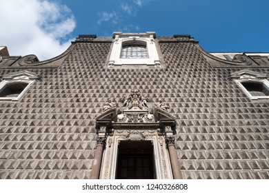 Naples, Italy, October 2018. Stonework on the front facade of the Church of Gesù Nuovo, Chiesa del Gesù Nuovo.