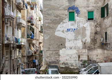 NAPLES (Italy) - OCTOBER 4, 2015: Spanish Quarters is a part of the city of Naples in Italy. The area consists of a grid of around 18 streets by 12, including a population of some 14,000 inhabitants