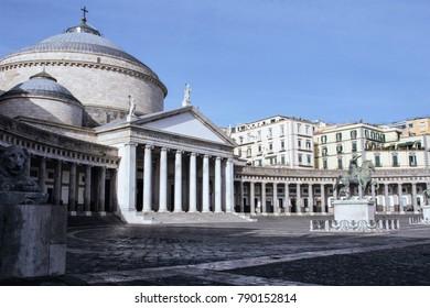 NAPLES - ITALY - ON 10/24/2016 -  Piazza Plebiscito , Basilica di San Francesco di Paola, Naples, Italy