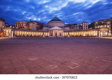 Naples, Italy: Piazza del Plebiscito (Plebiscito Square) at dusk.