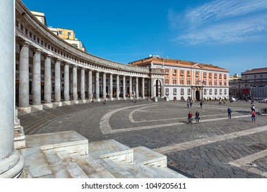 Naples (Italy) - Piazza Plebiscito, the main square in the historic centre of Naples. Prefecture Palace and the colonnade of the church of San Francesco di Paola