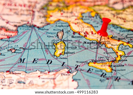 Naples Italy Pinned On Vintage Map Stock Photo (Edit Now) 499116283 ...
