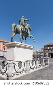 Naples, Italy. Plebiscitos Square, monument to Charles III of Spain