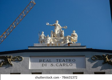 NAPLES, ITALY - SEPT 9, 2008: Sculpture on the roof of Real Teatro di San Carlo (Royal Theater of St. Charles) in Naples, ITALY on Sept 9, 2008. It is the oldest opera house in Europe.