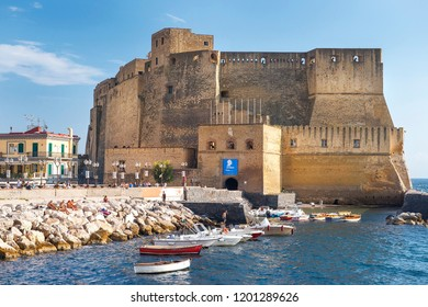 Naples, Italy - september 15, 2018: views of Castel dell'Ovo and gulf of Napless in good weather, Naples, Italy