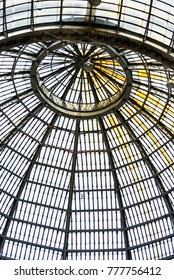 Naples, italy, september 2017. Interior of the commercial gallery  Umberto the first with the roof made of glass and steel structure