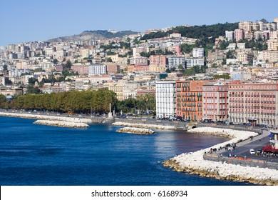 Naples, Italy. View of the coastline at the touristic zone of Mergellina.