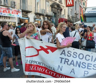 NAPLES, ITALY-JULY 11:crowd of the procession of the event's annual Gay Pride in old town. The associations in the front line for the guarantee of the rights of homosexuals on  july 11, 2015 in Naples