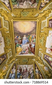 NAPLES - JUNE 7: Certosa Di San Martino, painting and decorations of the Farmacie halls on June 7, 2015