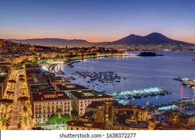 Naples and Mount Vesuvius in Italy before sunrise