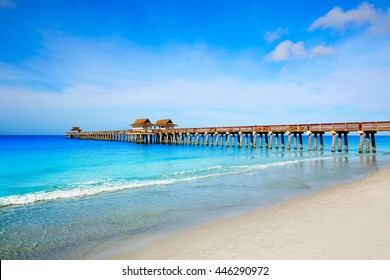 Naples Pier and beach in florida USA sunny day