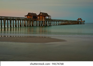 Naples Pier in Naples, Florida at dawn